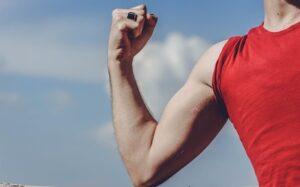 A man flexing his arm