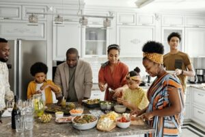 A family preparing a meal together