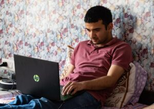 A person working on the laptop
